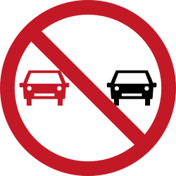 Traffic sign of Philippines: Overtaking prohibited