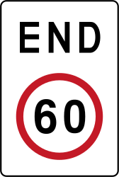 Traffic sign of Philippines: End of the speed limit