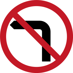Traffic sign of Philippines: Turning left prohibited