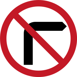 Traffic sign of Philippines: Turning right prohibited