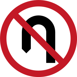 Traffic sign of Philippines: <b>Turning</b> around prohibited (<a href='/en/philippines/overview/u-turn'>U-turn</a>)