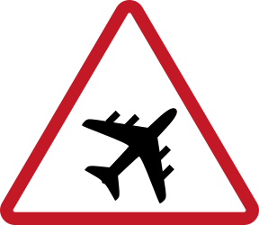 Traffic sign of Philippines: Warning for low-flying aircrafts