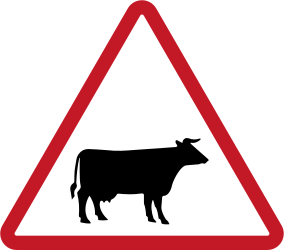 Traffic sign of Philippines: Warning for cattle on the road