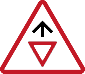 Traffic sign of Philippines: Give way ahead