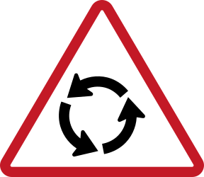 Traffic sign of Philippines: Warning for a roundabout