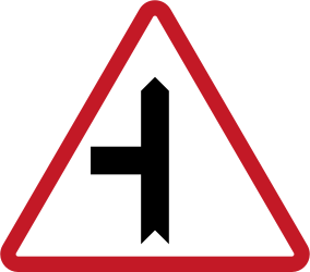 Traffic sign of Philippines: Warning for a crossroad with a side road on the left