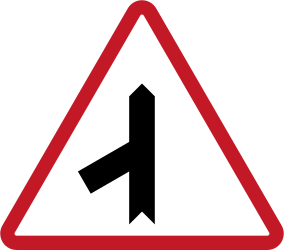 Traffic sign of Philippines: Warning for a crossroad with a sharp side road on the left