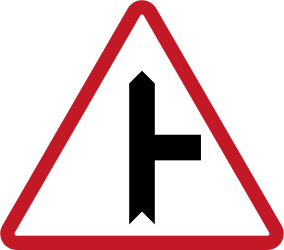 Traffic sign of Philippines: Warning for side road on the right