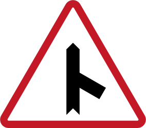 Traffic sign of Philippines: Warning for a crossroad with a sharp side road on the right