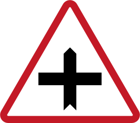 Traffic sign of Philippines: Warning for a crossroad side roads on the left and right