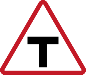Traffic sign of Philippines: Warning for an uncontrolled T-crossroad