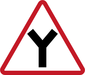 Traffic sign of Philippines: Warning for an uncontrolled Y-crossroad