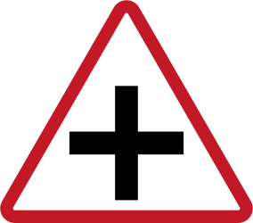 Traffic sign of Philippines: Warning for an uncontrolled crossroad