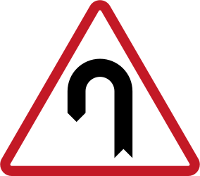 Traffic sign of Philippines: Warning for a U-turn