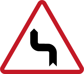 Traffic sign of Philippines: Warning for a double sharp curve, first left then right
