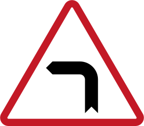 Traffic sign of Philippines: Warning for a sharp curve to the left