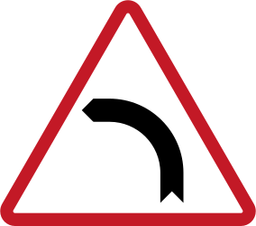 Traffic sign of Philippines: Warning for a curve to the left