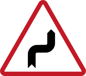 Traffic sign of Philippines: Warning for sharp curves, first right then left