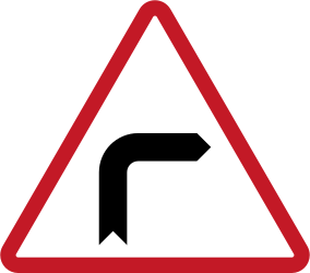 Traffic sign of Philippines: Warning for a sharp curve to the right