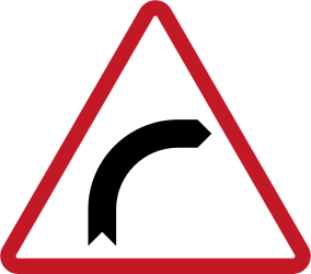 Traffic sign of Philippines: Warning for a curve to the right