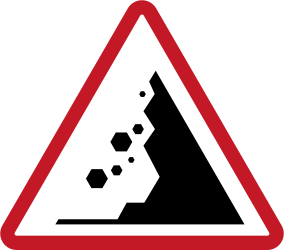 Traffic sign of Philippines: Warning for falling rocks