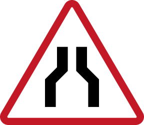 Traffic sign of Philippines: Warning for a road narrowing