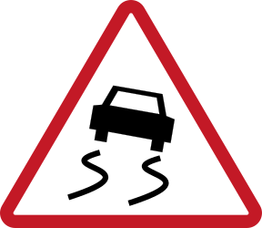 Traffic sign of Philippines: Warning for a slippery road surface