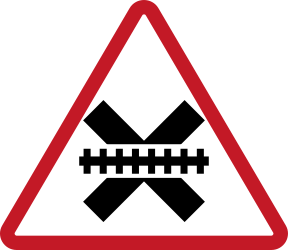 Traffic sign of Philippines: Warning for a railroad crossing without barriers