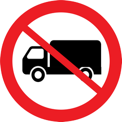 Traffic sign of Thailand: Trucks prohibited