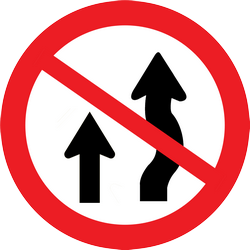 Traffic sign of Thailand: Overtaking prohibited