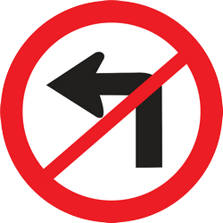 Traffic sign of Thailand: Turning left prohibited