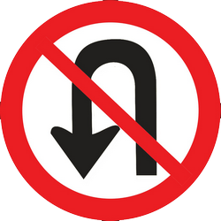 Traffic sign of Thailand: Turning around prohibited (U-turn)