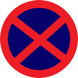 Traffic sign of Thailand: Parking and stopping prohibited