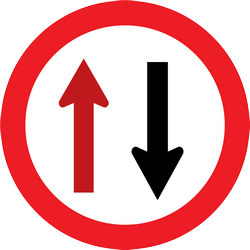 Traffic sign of Thailand: Road narrowing, give way to oncoming drivers