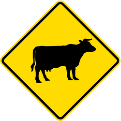Traffic sign of Thailand: Warning for cattle on the road