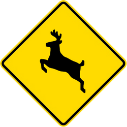 Traffic sign of Thailand: Warning for crossing deer