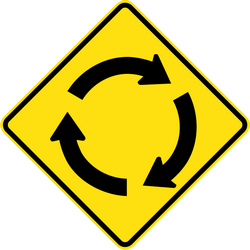 Traffic sign of Thailand: Warning for a roundabout