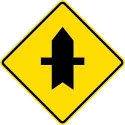 Traffic sign of Thailand: Warning for a crossroad side roads on the left and right