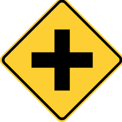 Traffic sign of Thailand: Warning for an uncontrolled crossroad
