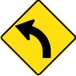 Traffic sign of Thailand: Warning for a curve to the left