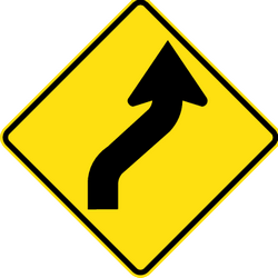 Traffic sign of Thailand: Warning for a double curve, first right then left