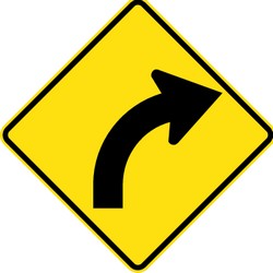 Traffic sign of Thailand: Warning for a curve to the right