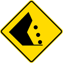 Traffic sign of Thailand: Warning for falling rocks