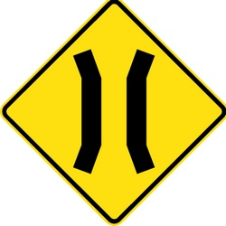 Traffic sign of Thailand: Warning for a narrowing