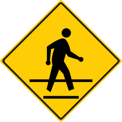 Traffic sign of Thailand: Warning for a crossing for pedestrians