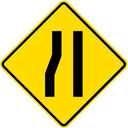 Traffic sign of Thailand: Warning for a road narrowing on the left