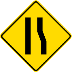 Traffic sign of Thailand: Warning for a road narrowing on the right