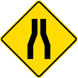 Traffic sign of Thailand: Warning for a road narrowing