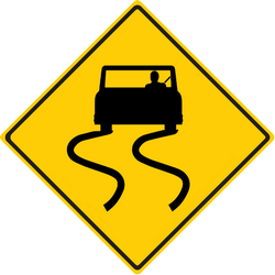 Traffic sign of Thailand: Warning for a slippery road surface