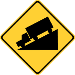 Traffic sign of Thailand: Warning for a steep descent